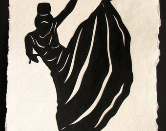 Hand-Cut Papercut Art - MARTHA GRAHAM - Modern Dance Silhouette