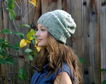 Seafoam Green Knitted Slouch Beanie. Speckled Dark Green. Winter Accessories. Winter Knit Hat. Christmas Gift. Winter Hat. Womens Winter Hat