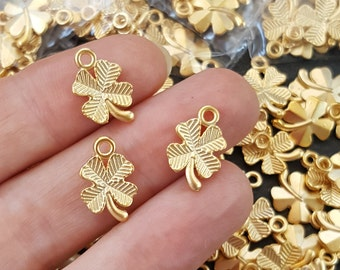 10 Four Leaf Clover Charms, Good Luck Charm, Gold Charm, Gold Bracelet Charm, Gold Clover, Lucky Charm, Lucky Symbol - Matte Gold Plated