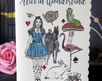 Alice in Wonderland card with flamingo, white rabbit, Lewis Carroll
