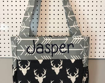 Diaper Bag made with Gray Arrows and Hello Bear Buck twilight deer fabric navy blue with free name monogram