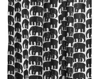 Curtain panel white black elephants Animal Modern Decor Cafe curtain Kitchen valance , runner , napkins available, great GIFT