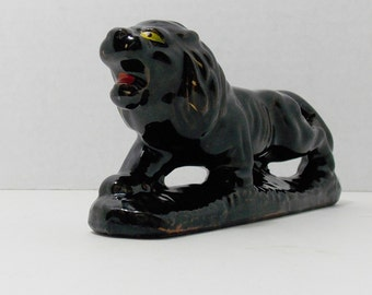 Black lion with gold accents, Red ware Lion,  black cat,  Red ware Japan,  knick knack home decor small decorating piece
