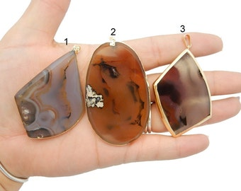 Natural Agate Slice Pendants with Electroplated 24k Gold Edge (LOT G-1521)