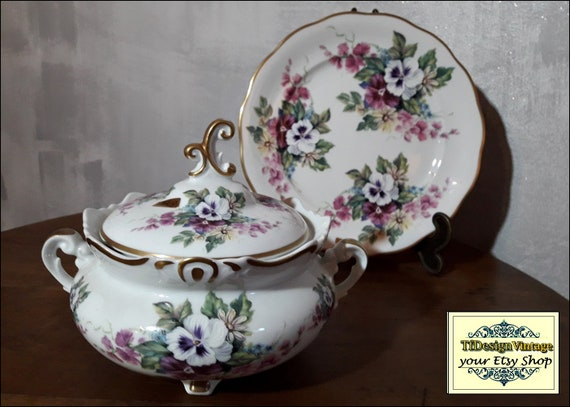 Sopera de porcelana, Sopera porcelana con tapa, Sopera elegante, Sopera regalo boda, Sopera vintage, Sopera individual, Sopera dibujo floral