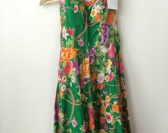 vintage hippie 70s corset floral dress