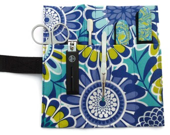 8- Piece Luxury Mega-Manicure Set (blue, teal, yellow, white floral)