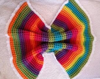 Rainbow Waffle Baby Blanket, Stroller Blanket, Security Blanket.