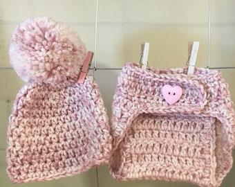 Chica sombrero y los pañales cubierta, muchacha recién nacida sombrero y los pañales, regalos de bebé niña, apoyo de foto de bebé niña, baby niña rosa y crema el sombrero del bebé