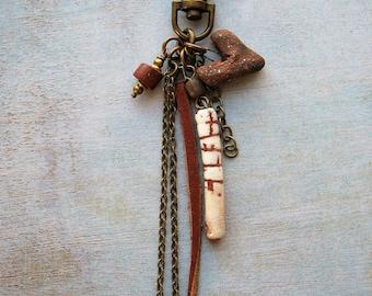 Primitive Love Tassel Pendant - 5 inches in length