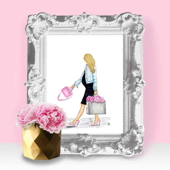 mommy and me art, mother daughter art, gifts for mom, Shopaholic, pregnancy gift, gifts for her, expecting mom, babyshower gift