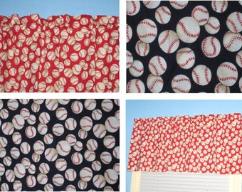 BASEBALL on RED Handmade 100% cotton Window Curtain Valance
