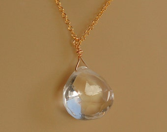 Clear Gemstone Necklace, Bridal Necklace, Clear Crystal Quartz Briolette Gemstone in 14K Gold Filled, Real Stone Necklace, Wedding Jewelry