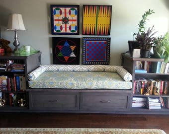 Nook Bench Seat or Window Cushions Custom Made with Bolsters  EXAMPLE