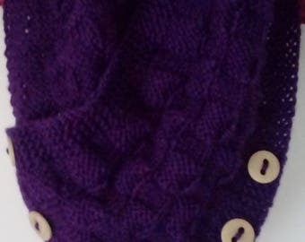 Handknitted neckwarmer cowl scarf with buttons