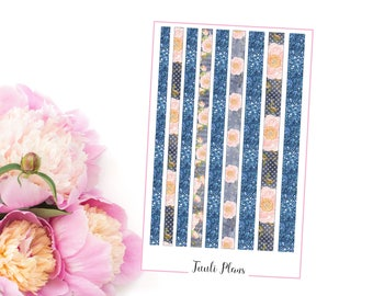 Planner stickers: washi strips - Blue floral (not ec size) | Perfect for your filofax / erin condren planner etc