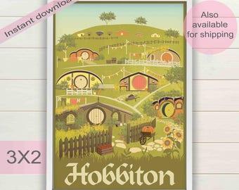 The Hobbit, Lord of the Rings retro travel poster | Minimalist LOTR art | Hobbiton, The Shire, Frodo, Bilbo Baggins book digital download