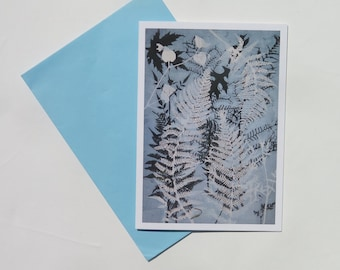 6 Pack Blank art card greeting cards A6 Tumbling Ferns  Modern floral botanical design Dusky Blue Made with Love from nature FREE SHIPPING