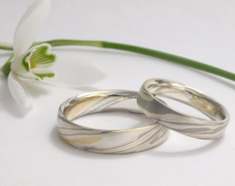 Mokume Gane wedding rings - a dream in 925 sterling silver, 750 gold and 950 palladium, handwork and design