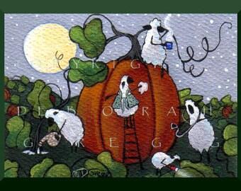 A Delicate Operation     an aceo Sheep Pumpkin PRINT by Deborah Gregg