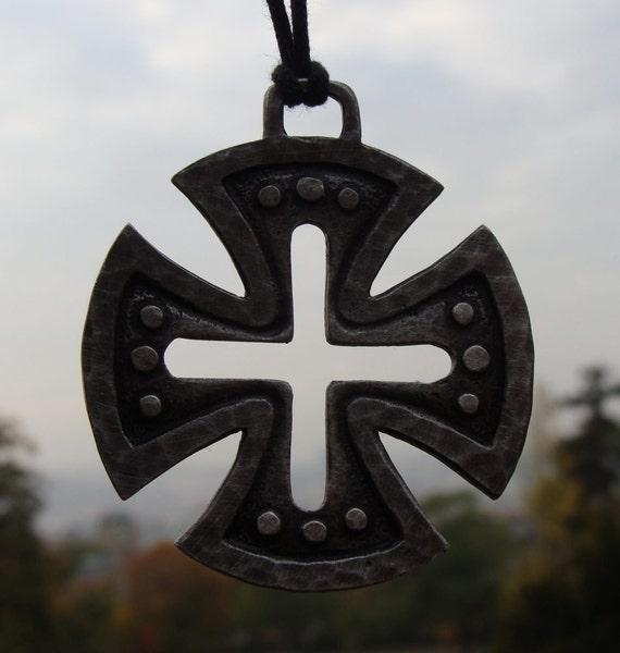 Large medieval templar cross pendant necklace aloadofball Images