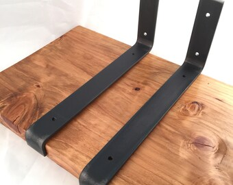 Custom Lip Shelf Bracket, Handcrafted Rustic Reclaimed Salvaged Lip Metal Steel, decorative wall shelve Storage Strap Angle Hook