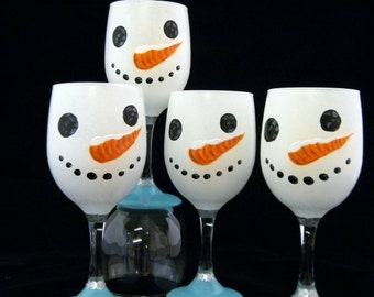Wine Glasses, Snowman, Set Of 4, Hand Painted, Christmas, Holiday, Gift