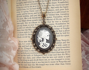 Victorian Gothic Lolita Grey And White Cameo Necklace