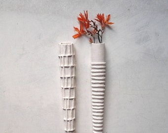 """Pair wall planters, modern sculpture taper vases, mid-century modern hanging pots for dried flowers, white modern minimalist decor, 12 1/2"""""""