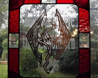 Small Stained Glass Skyrim Panel Ruby Red