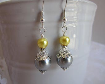 Gray and Yellow Bridesmaid Earrings Maid of Honor Bridesmaid Jewelry