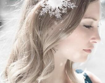 Crystal Snowflake Clip - Winter Wedding Hair Piece, Clip  Brooch Pin - Winter Wedding - Winter Wonderland Wedding - Christmas Wedding