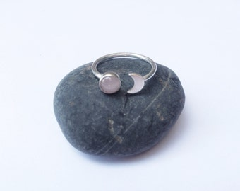 Sterling Silver Crescent Moon and Gemstone Ring