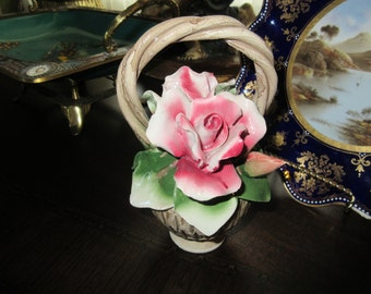 ITALY CAPODIMONTE BASKET With Roses