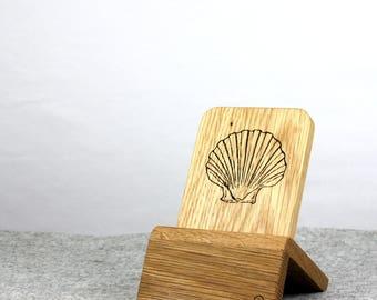 iPhone Dock (Eiche - Muschel design) für iPhones 5/5S/6/6S/Plus/SE/7 mit und ohne Schutzhülle / Lightning Dock
