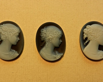 Ultrasonically Carved Art Nouveau Dyed Agate Cameo Portrait Profiles Of Three Individual Ladies 27MM By 34MM Sold Per Piece