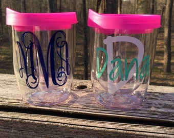 Monogrammed Tumbler, Personalized Stemless Tumbler, Monogrammed Stemless Tumbler, Stemless Wine Tumbler
