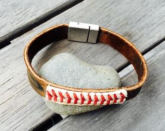 Mens baseball and mitt magnetic cuff bracelet