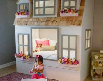 Mia's Country Cottage is available as a  Loft, Bunk or Triple Bunk Bed, with Storage Trundle, Slide, Staircase w/ Built-in Storage or Ladder