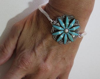 Blue And Silver Wire Mesh Bracelet/Womens Adjustable Bracelet/Woven Sterling Silver Bracelet /Free Shipping/Blue Hand Painted Flower/Gypsy