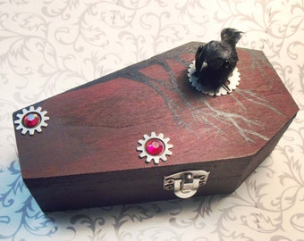 Raven Red Coffin Box