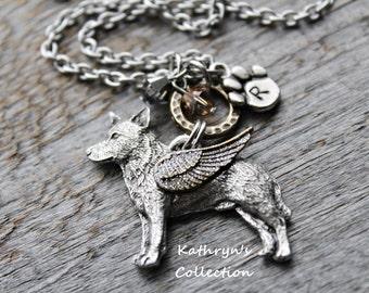 Blue Heeler Angel Necklace, Cattle Dog Jewelry, Heeler Mom, Pet Memorial Jewelry, Blue Heeler Sympathy, Blue Heeler Jewelry