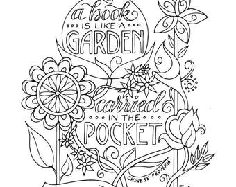 Book Garden Coloring Page Planner Bullet Journal Insert Instant Download Printable PDF Reading Quotes