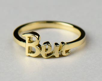 14k Gold Name Ring - Personalized Jewelry. Custom Script Text. 14k, 18k Yellow, Rose, White Gold & Platinum. Custom Fonts Available