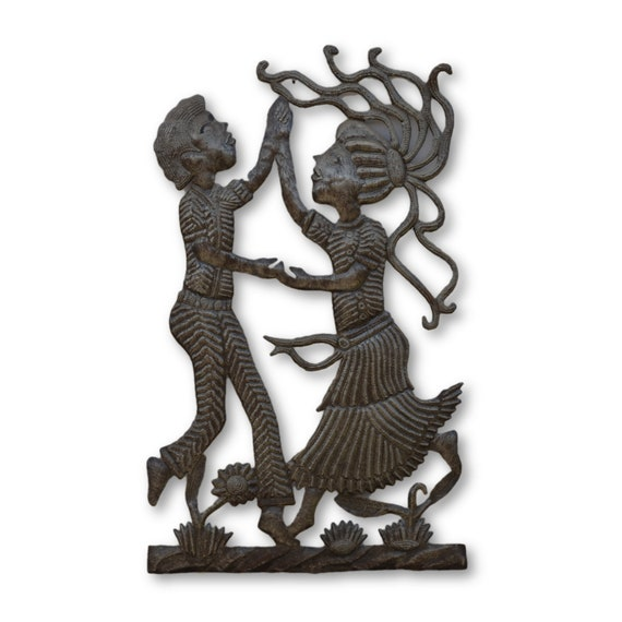 Dancing Couple,  Handcrafted Quality Haitian Art, One-of-a-Kind 23.5x23.5