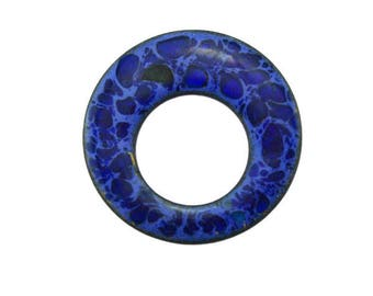 Blue Enamel Circle brooch, Blue Enamel Brooch, Blue Enamel Pin