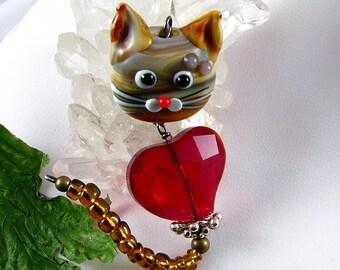 Lampwork Glass Kitty Cat Pendant, key chain or car ornament 2 inch Dangle