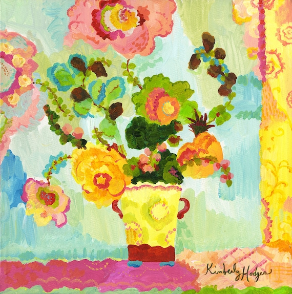 Aqua Butter Flowers Watercolor Print by Kimberly Hodges, 12 x 12, 14 x 14, 20 x 20