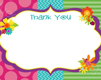 Flowers, Ladybugs, Bees Thank You Notes