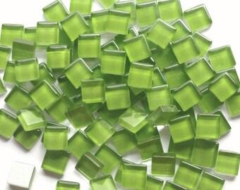100 (10mm) MINI Lime Kiwi Green Crystal Glass Mosaic Tiles 3/8 inch//Mosaic Supplies//Chartreuse Tiles//Mosaic